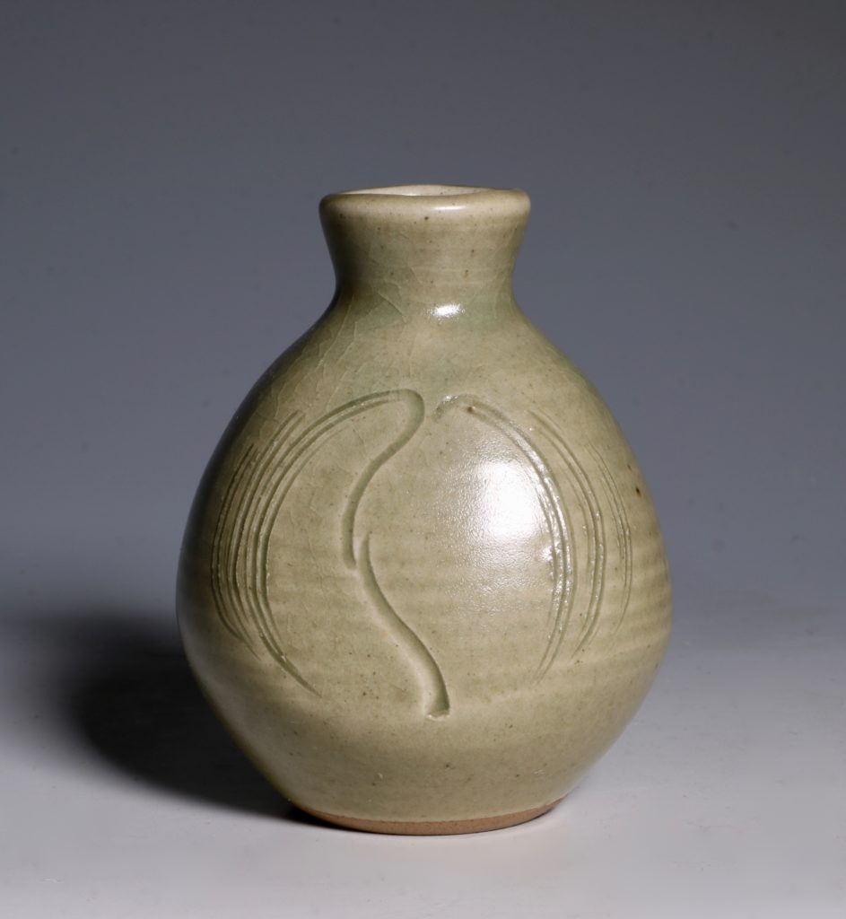 Bernard Leach Carved Celadon Vase