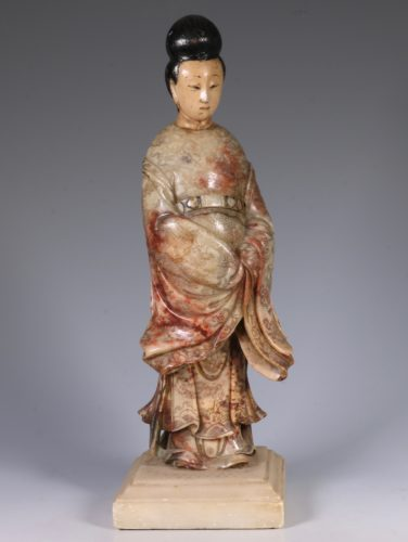 Chinese Soapstone Carving of a Standing Lady 17/18thC