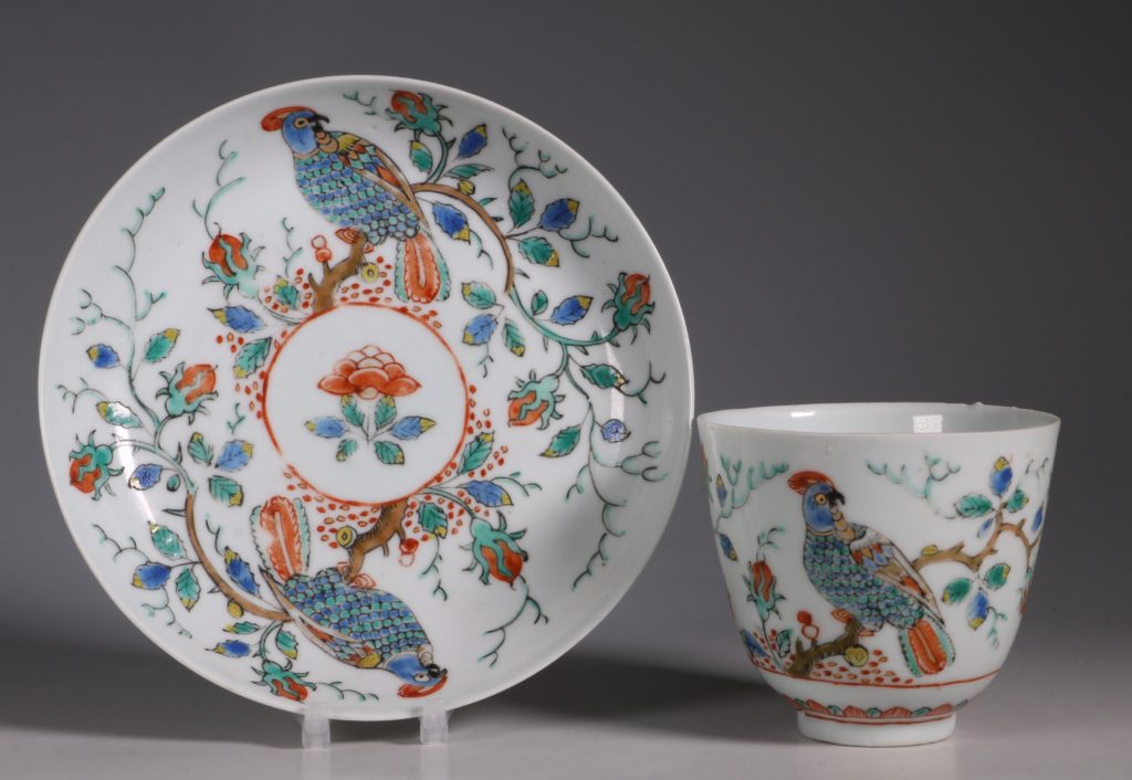 Dutch Decorated Chinese Beaker and Saucer E18thC