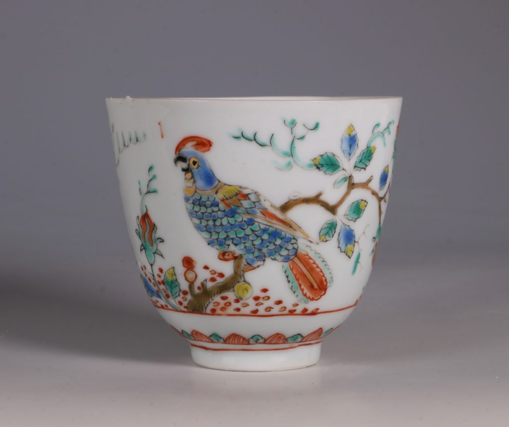 Dutch Decorated Chinese Beaker and Saucer E18thC 3