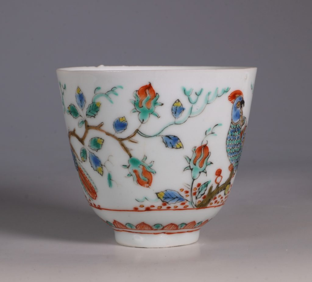 Dutch Decorated Chinese Beaker and Saucer E18thC 4