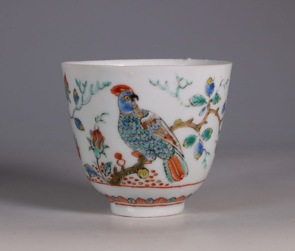 Dutch Decorated Chinese Beaker and Saucer E18thC 5