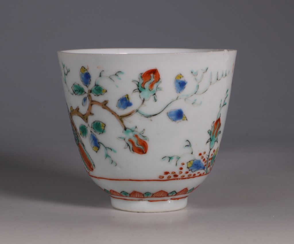 Dutch Decorated Chinese Beaker and Saucer E18thC 6