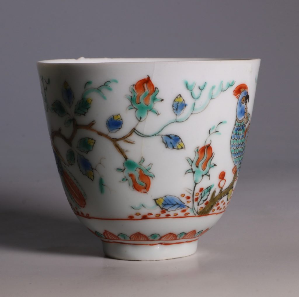 Dutch Decorated Chinese Beaker and Saucer E18thC 7