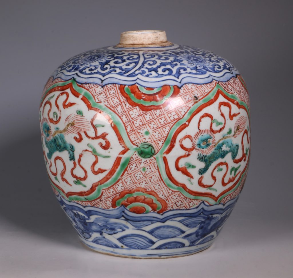 Chinese Polychrome Jar 16thC 1