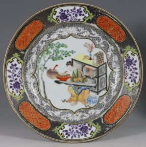 A Fine Silvered Famille Rose Plate E Qianlong