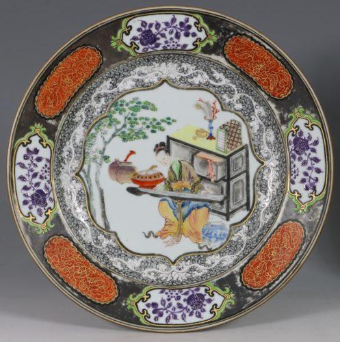 A Fine Silvered Famille Rose Plate E Qianlong