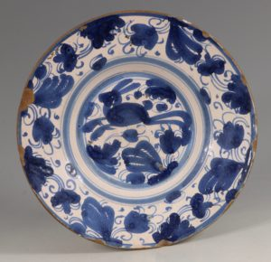 Spanish Blue and White Tin-glaze Dish Teruel L17thC
