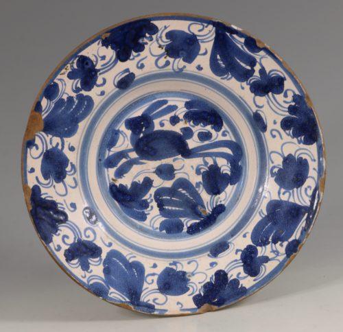 Spanish Blue and White Tin-glaze Dish Teruel L17thC