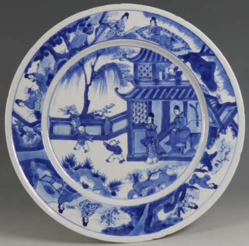 An Unusual Chinese Blue and White Plate Kangxi C1700