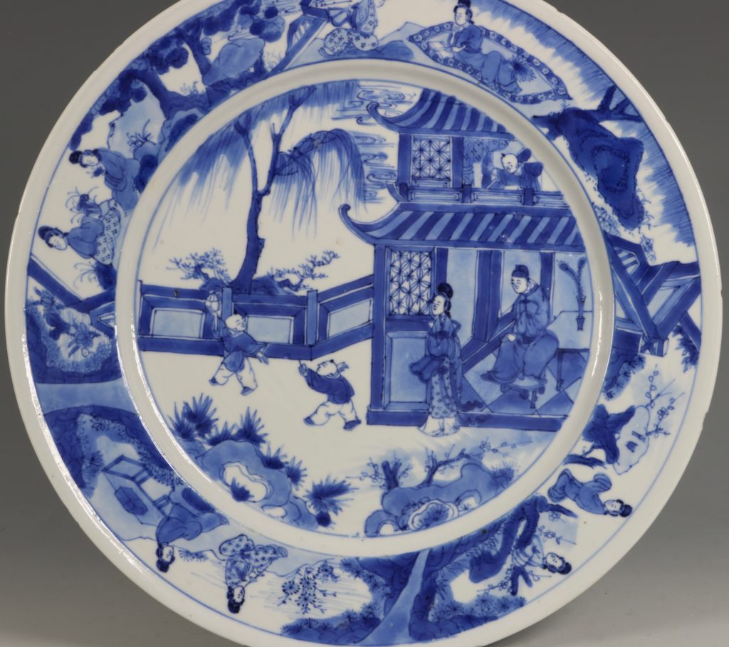 An Unusual Chinese Blue and White Plate Kangxi C1700 1