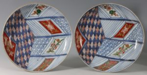 A Near Pair of Japanese Imari Dishes 18thC