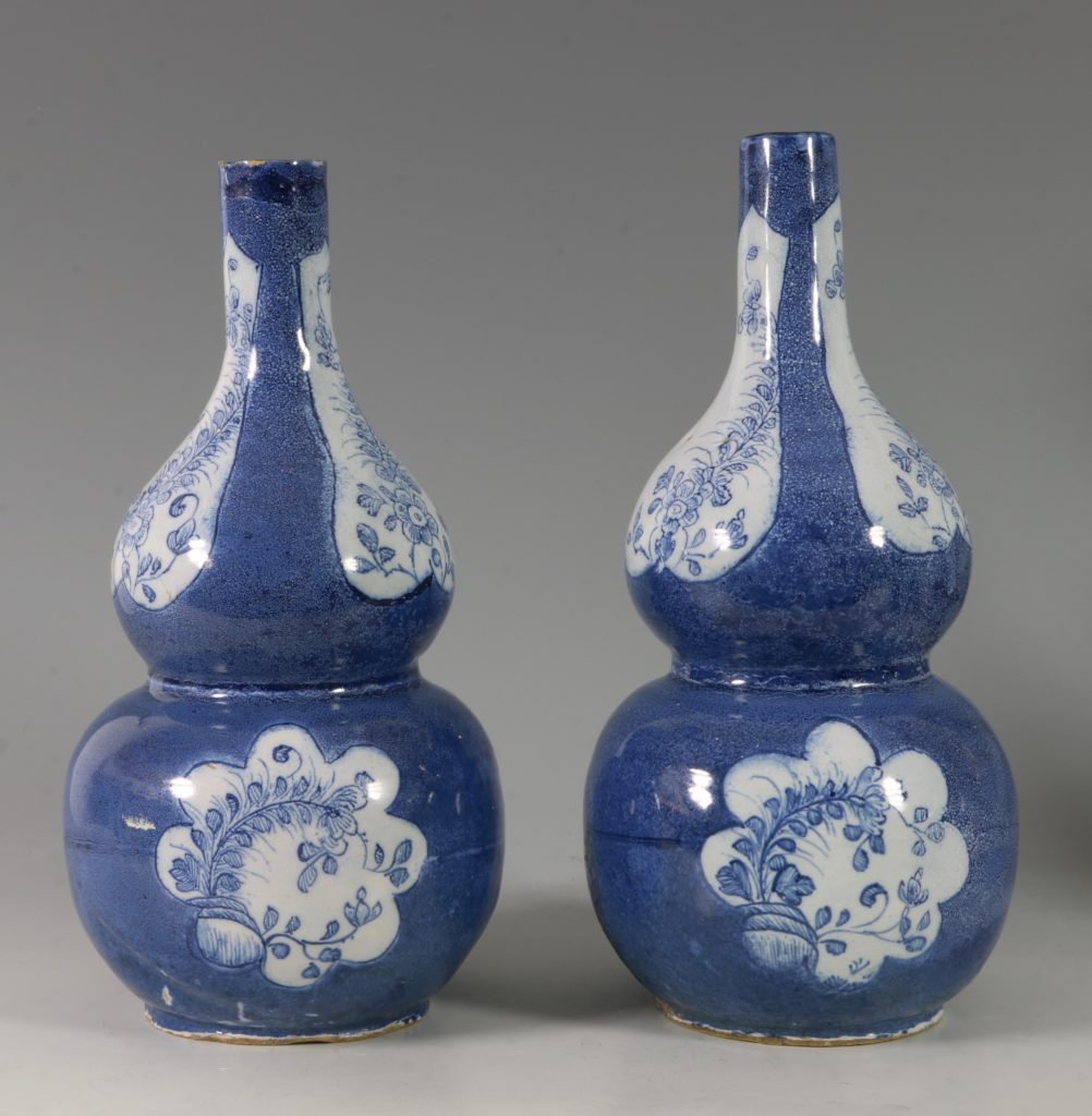 Very Rare Pair of English Delft Double Gourd Vases Probably London C1760/5