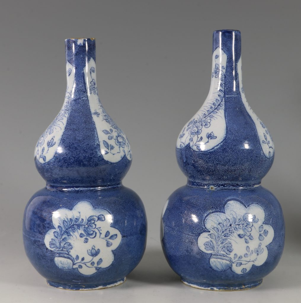 Very Rare Pair of English Delft Double Gourd Vases Probably London C1760/5 2