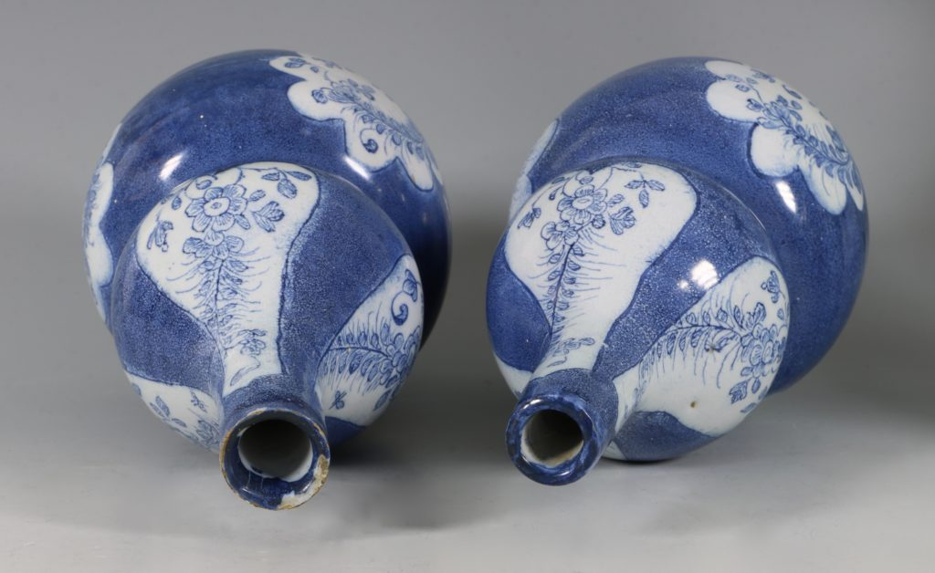 Very Rare Pair of English Delft Double Gourd Vases Probably London C1760/5 7