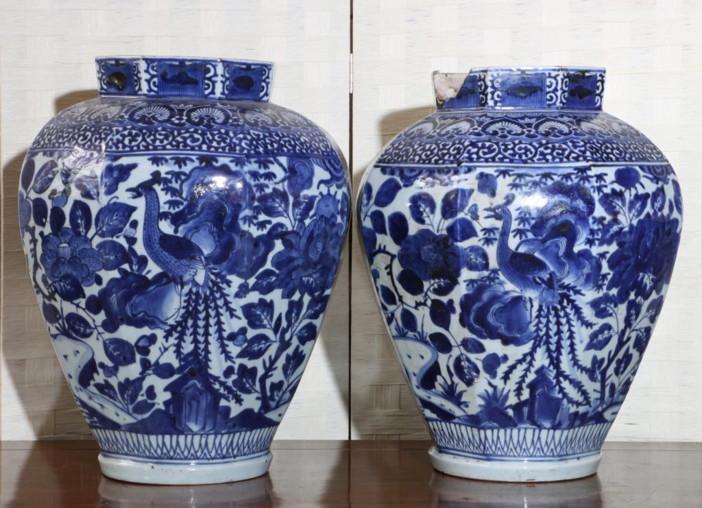 Pair of Arita Blue and White Vases L17thC