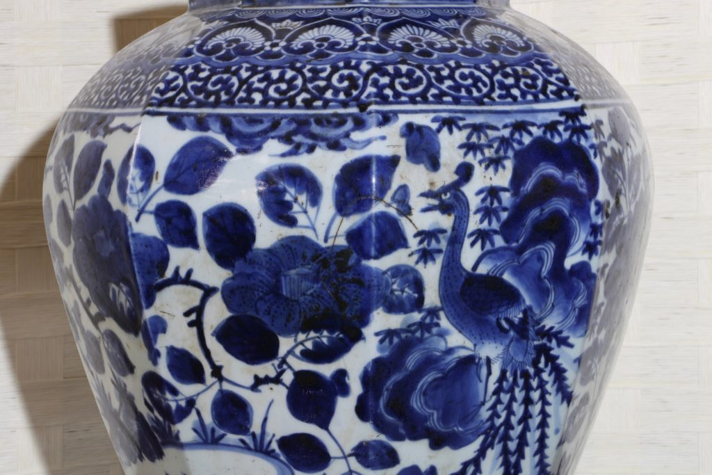 Pair of Arita Blue and White Vases L17thC 12