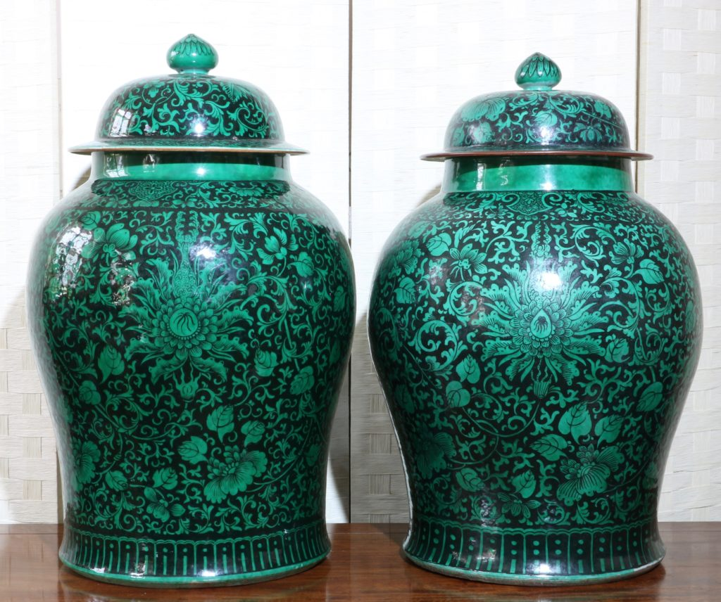A Very Large Pair of Famille Noire Baluster Vases 18/19thC