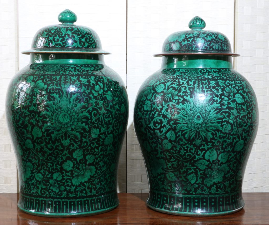 A Very Large Pair of Famille Noire Baluster Vases 18/19thC 1