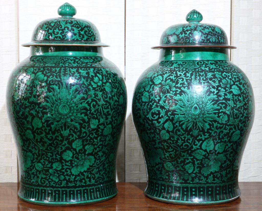 A Very Large Pair of Famille Noire Baluster Vases 18/19thC 2