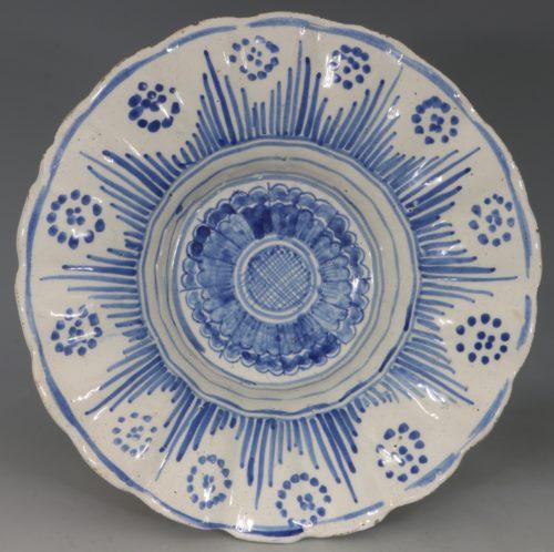Lobed English Delft Dish L17thC