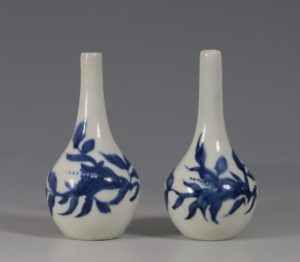 A Rare Pair of Longton Hall Miniature Vases C1756