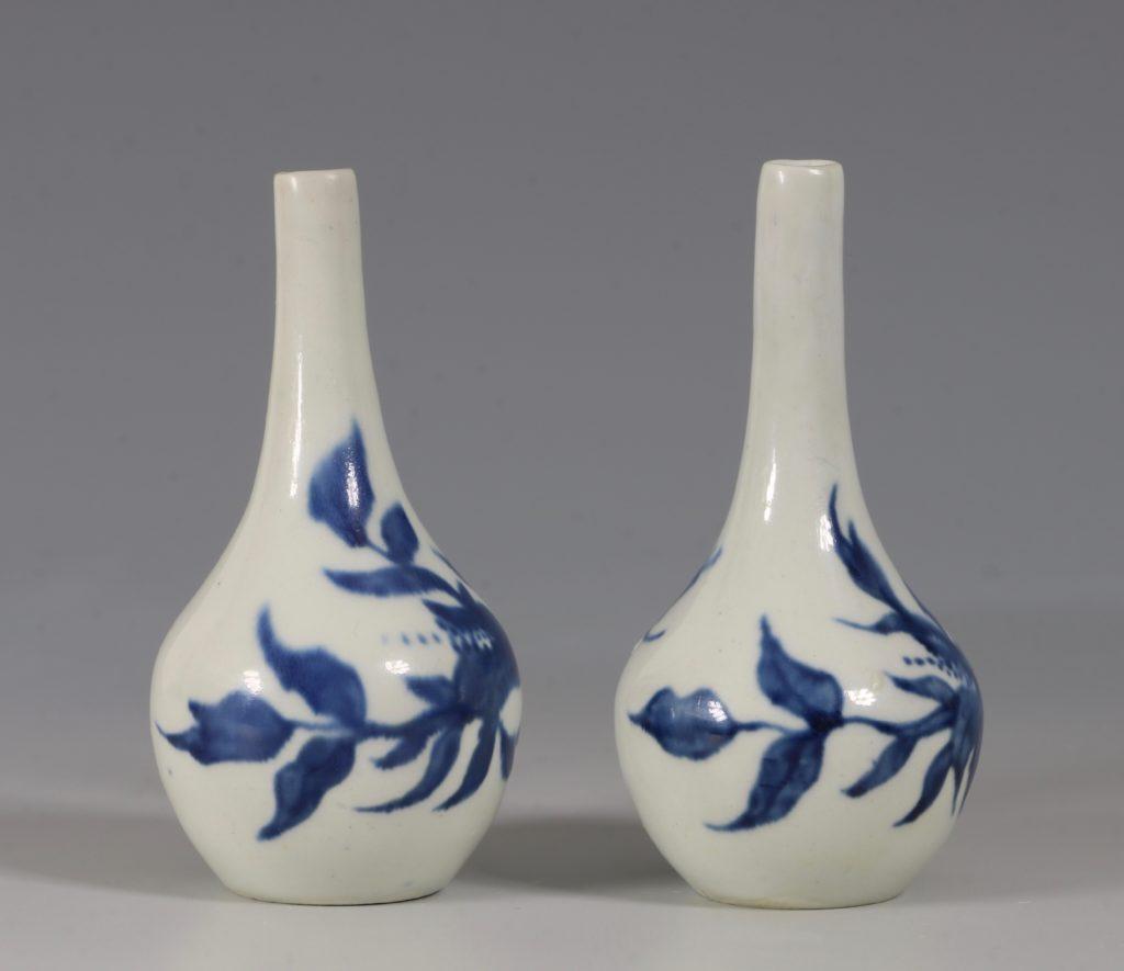 A Rare Pair of Longton Hall Miniature Vases C1756 1