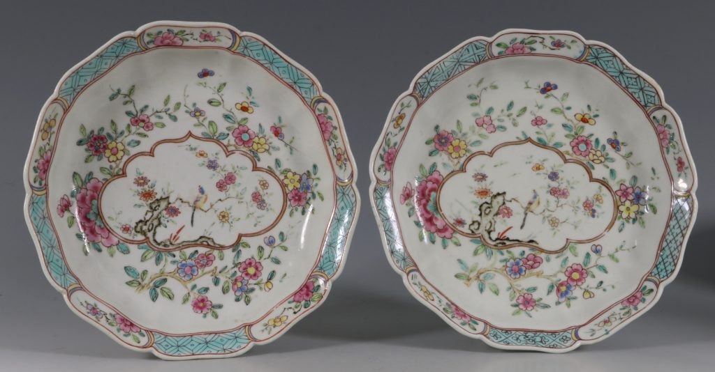 Extremely Rare Pair of Chelsea Dishes Raised Anchor C1752-53