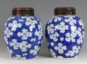 A Near Pair of Blue and White Prunus Vases Kangxi 17/18thC