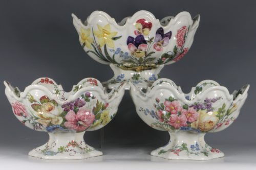 A Set of Three Nove Faience Monteiths 19thC