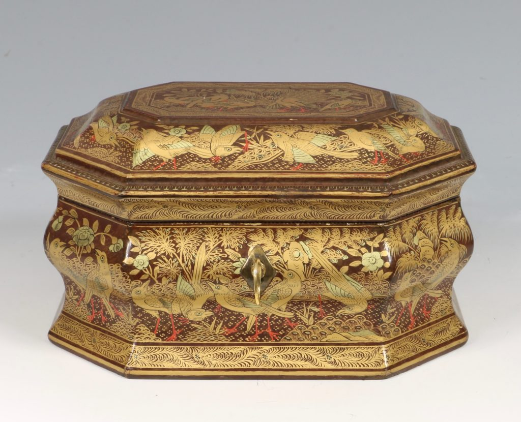 A Chinese Canton Lacquer Export Tea caddy Mid 19thC
