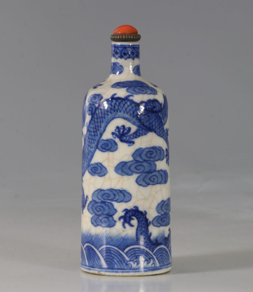 A Blue and White Soft-Paste Snuff Bottle 19thC 2