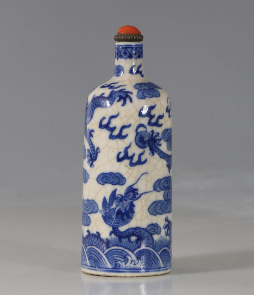 A Blue and White Soft-Paste Snuff Bottle 19thC 4