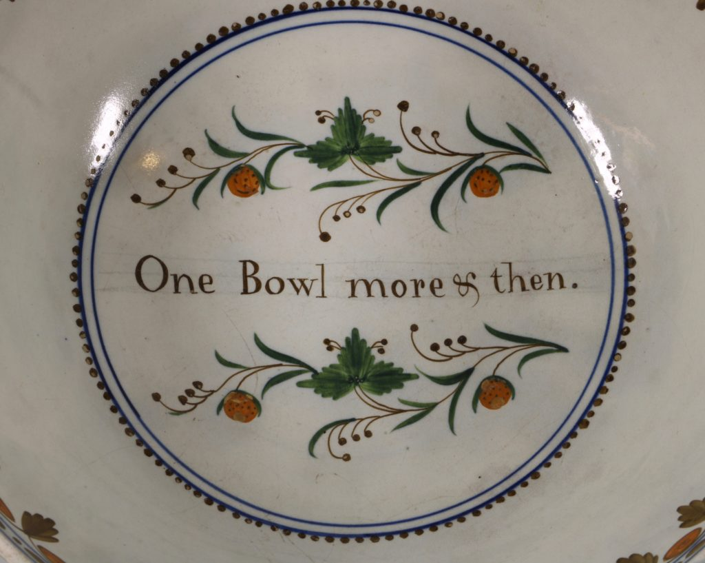 A Large Pratt Ware Punchbowl 'One Bowl More & Then' L18thC 1