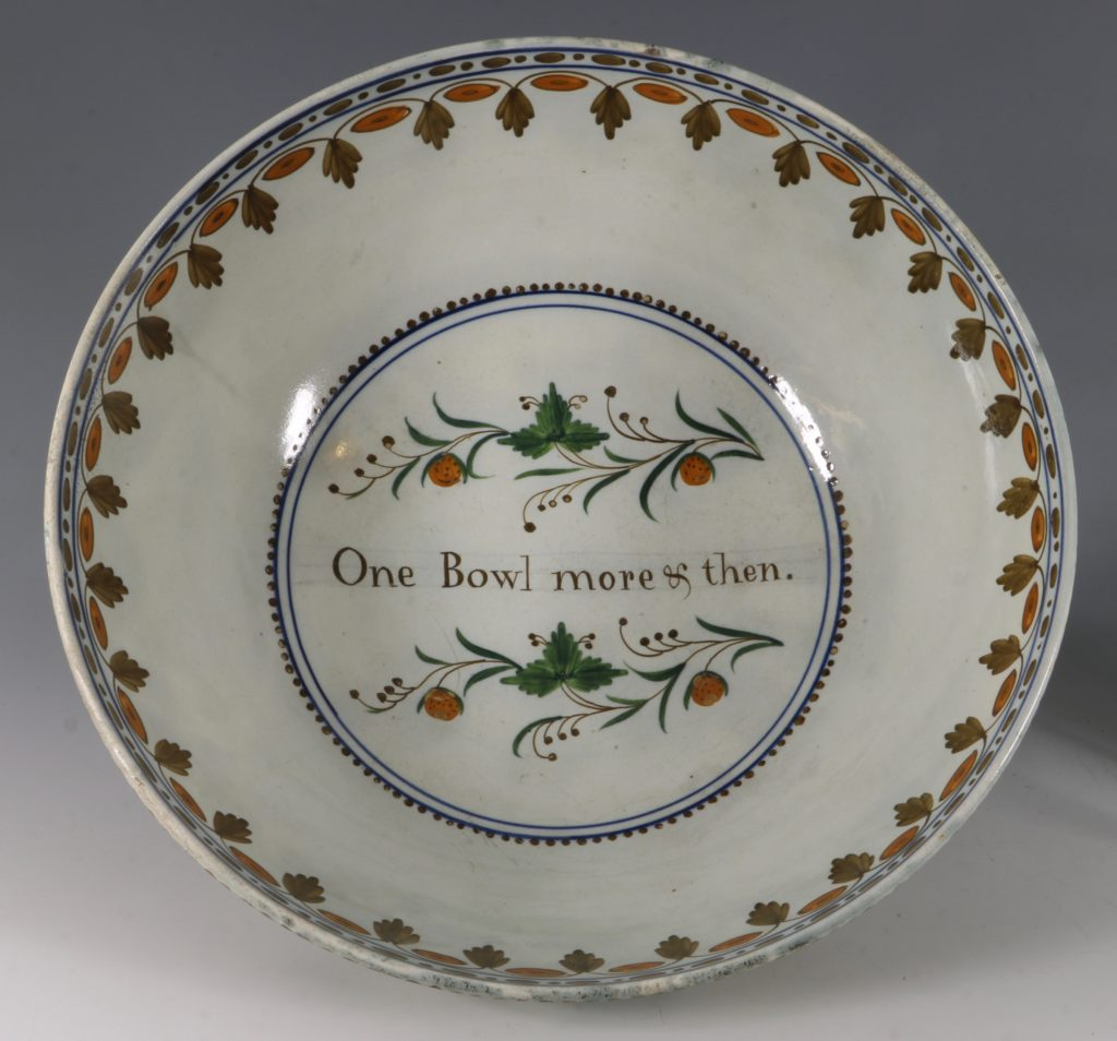 A Large Pratt Ware Punchbowl 'One Bowl More & Then' L18thC