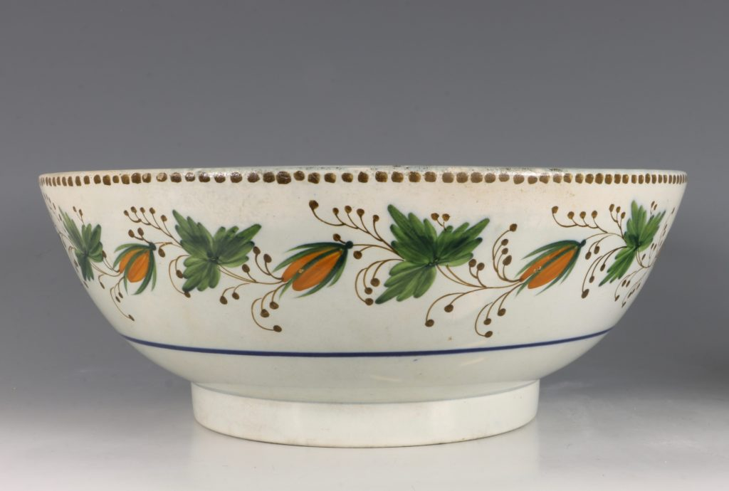A Large Pratt Ware Punchbowl 'One Bowl More & Then' L18thC 2