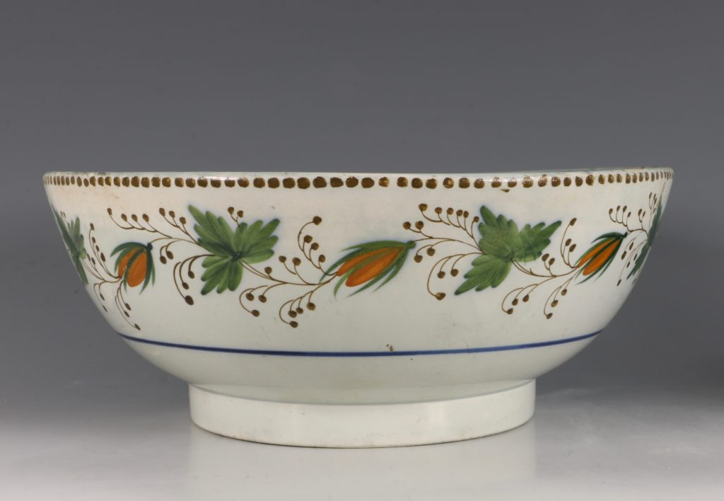 A Large Pratt Ware Punchbowl 'One Bowl More & Then' L18thC 3