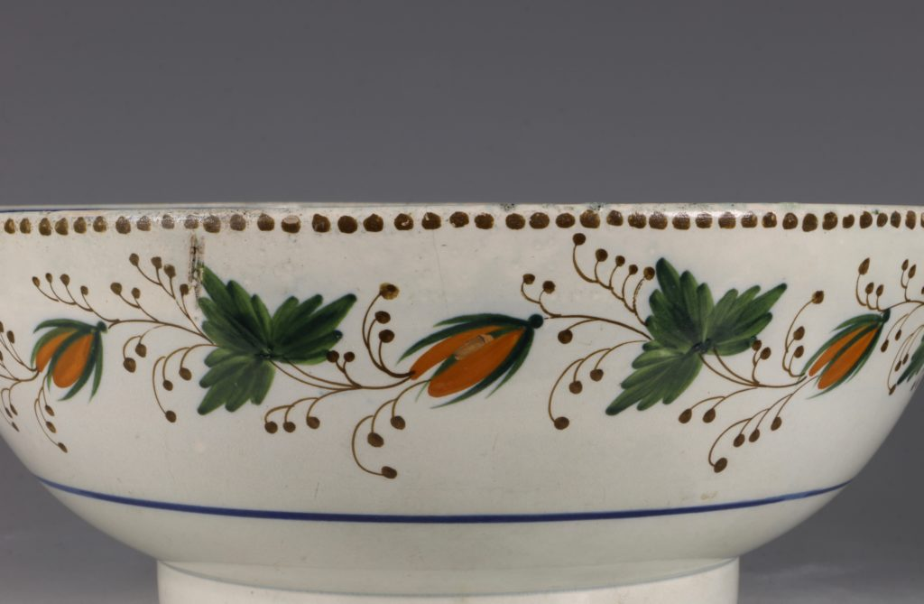 A Large Pratt Ware Punchbowl 'One Bowl More & Then' L18thC 4