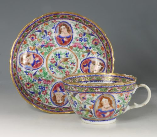 A Chinese Islamic Market Famille Rose Cup and Saucer 19thC