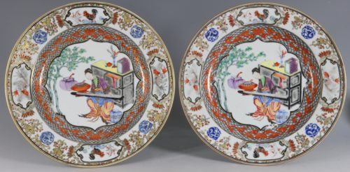 A Fine Pair of Famille Rose Plates C1735/45