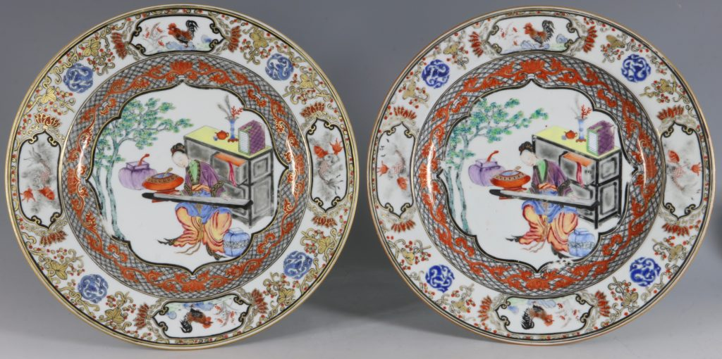 A Fine Pair of Famille Rose Plates C1735/45 1