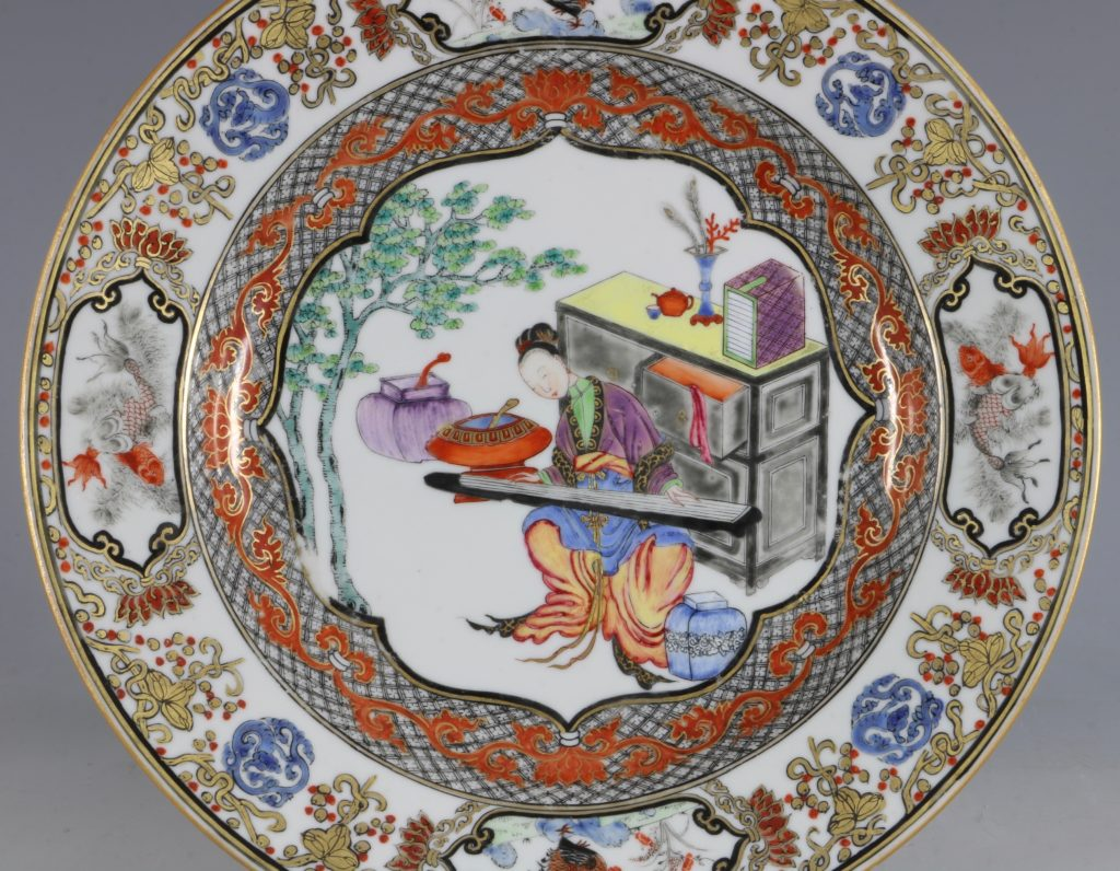 A Fine Pair of Famille Rose Plates C1735/45 3