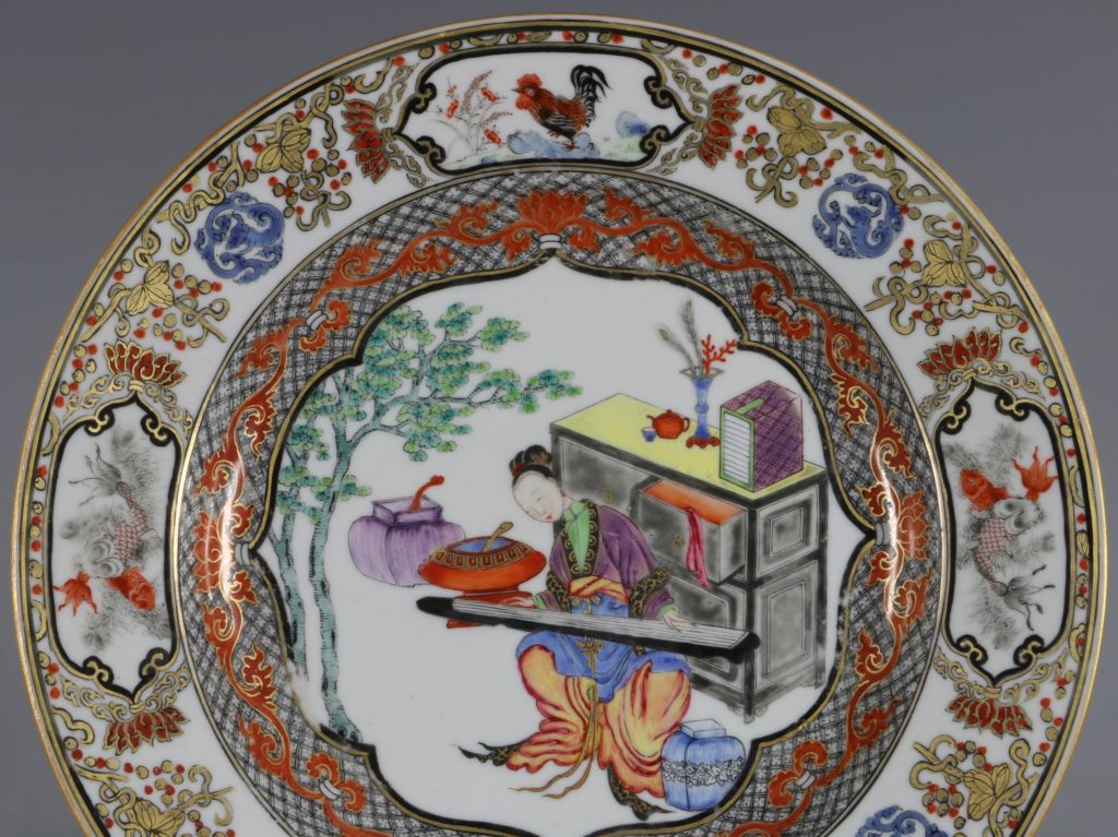 A Fine Pair of Famille Rose Plates C1735/45 4