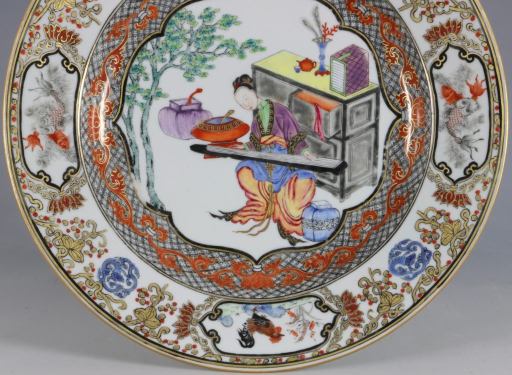 A Fine Pair of Famille Rose Plates C1735/45 5