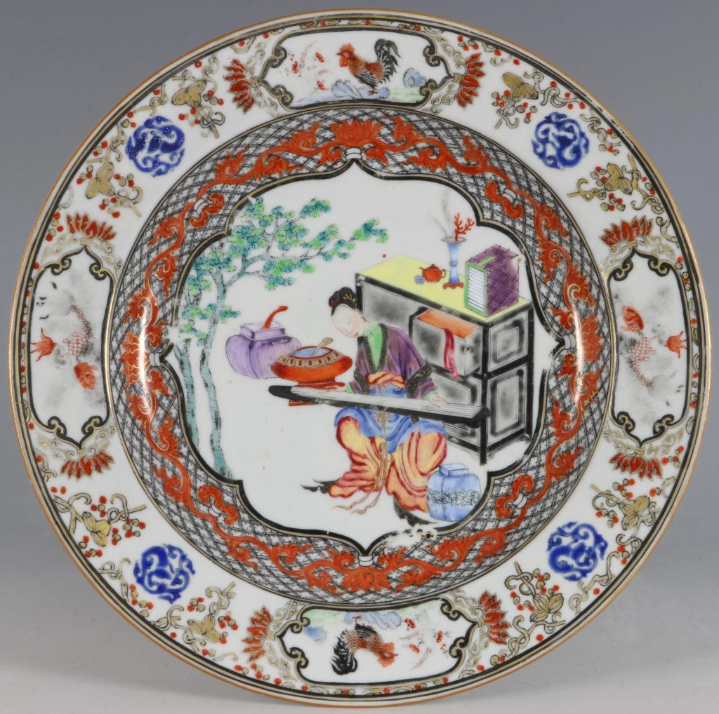 A Fine Pair of Famille Rose Plates C1735/45 6