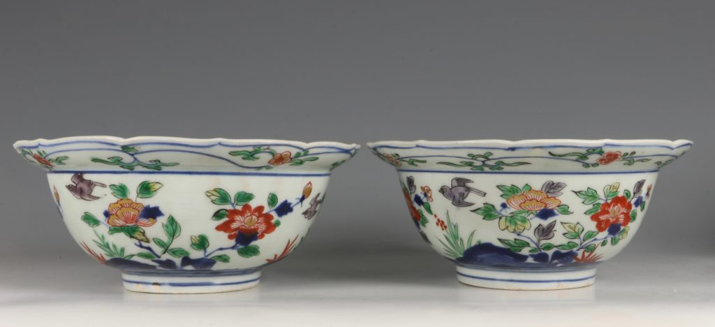 A Pair of Japanese Arita Polychrome Bowls C1690/1730