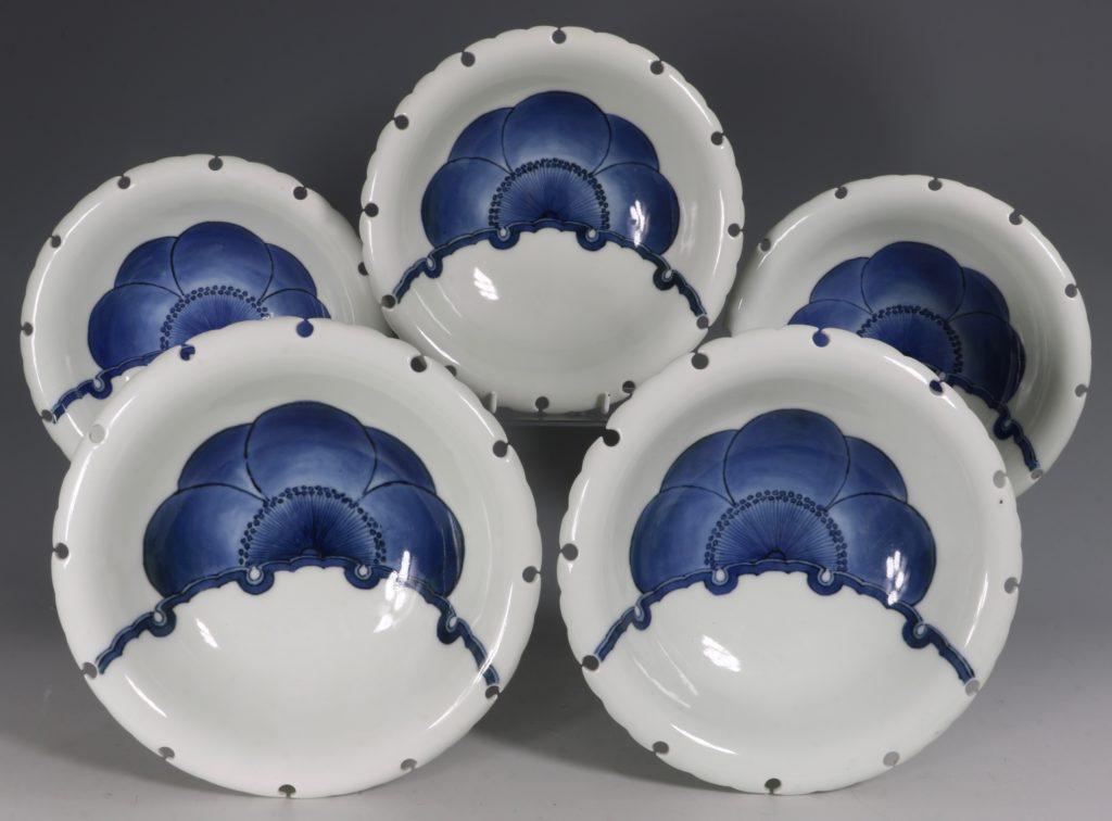 A Set of Five Japanese Hirado Bowls 19thC