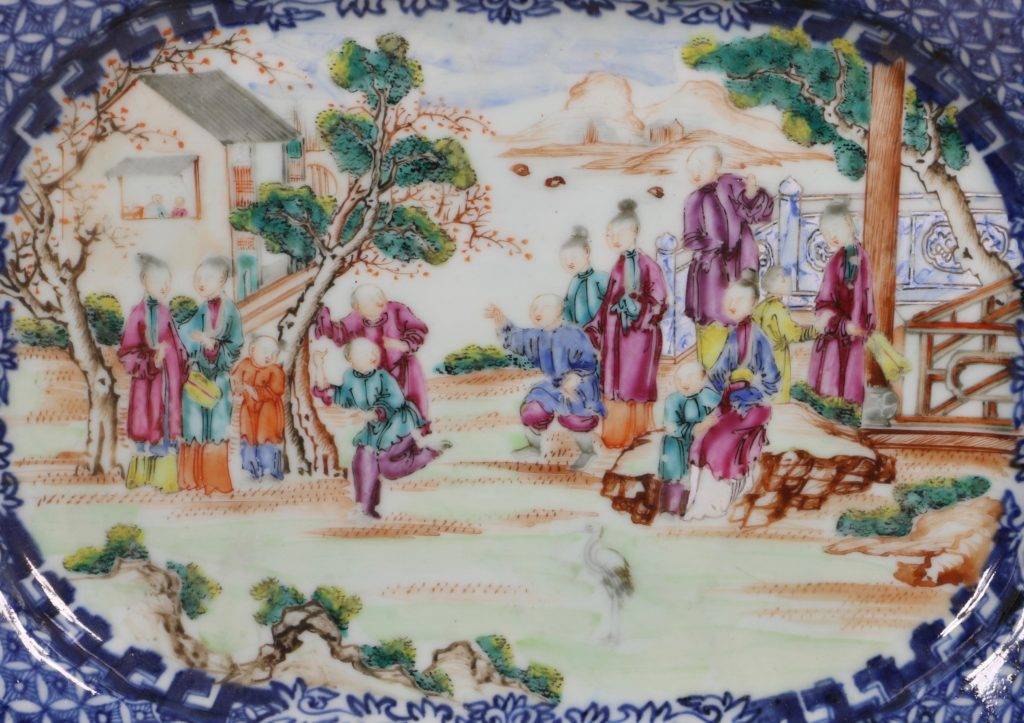 Chinese Mandarin Palette Meat Plate Qianlong C1760/70 2