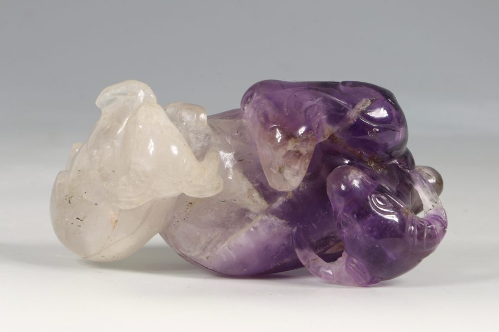 A Chinese Amethyst Three Rams Group Qing 7