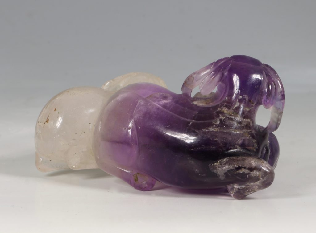 A Chinese Amethyst Three Rams Group Qing 5